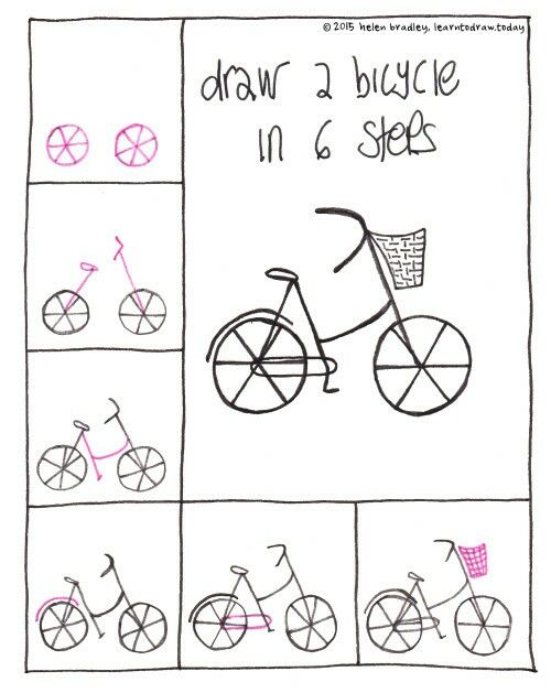 how to draw a bicycle with a basket