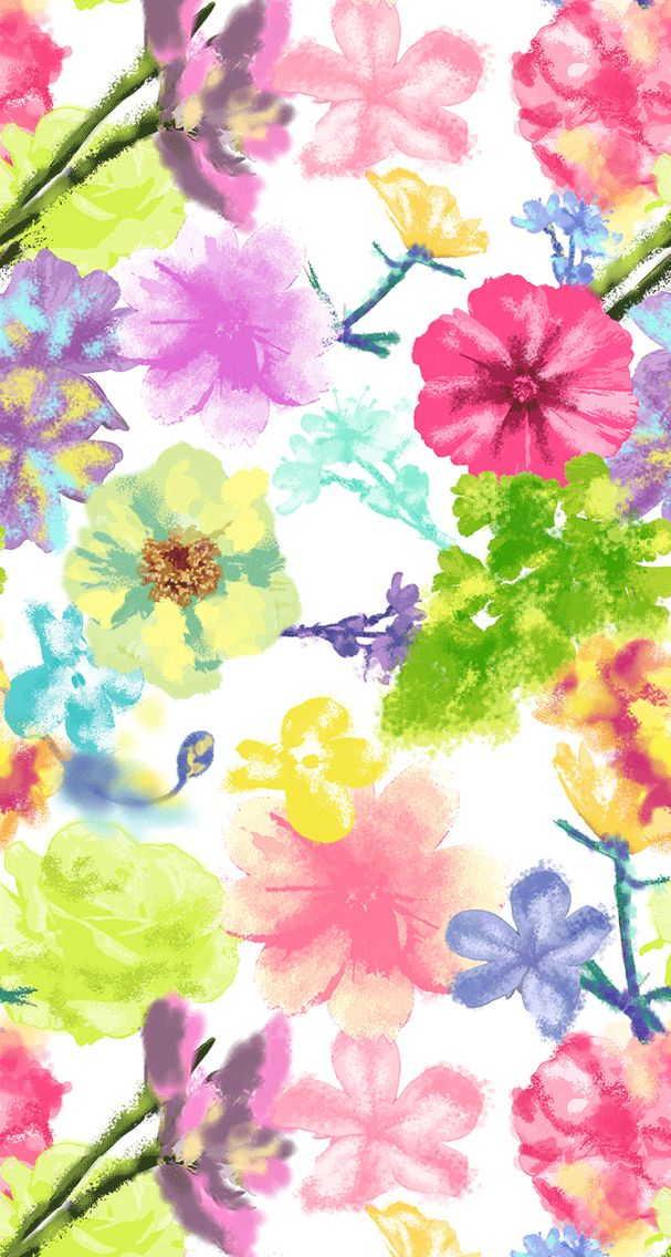 Cute Watercolor Flower Print Wallpaper Flowery Wallpaper