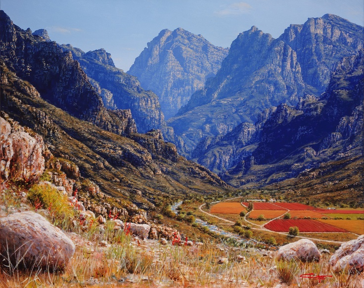 Painting of a Hex River mountain range.