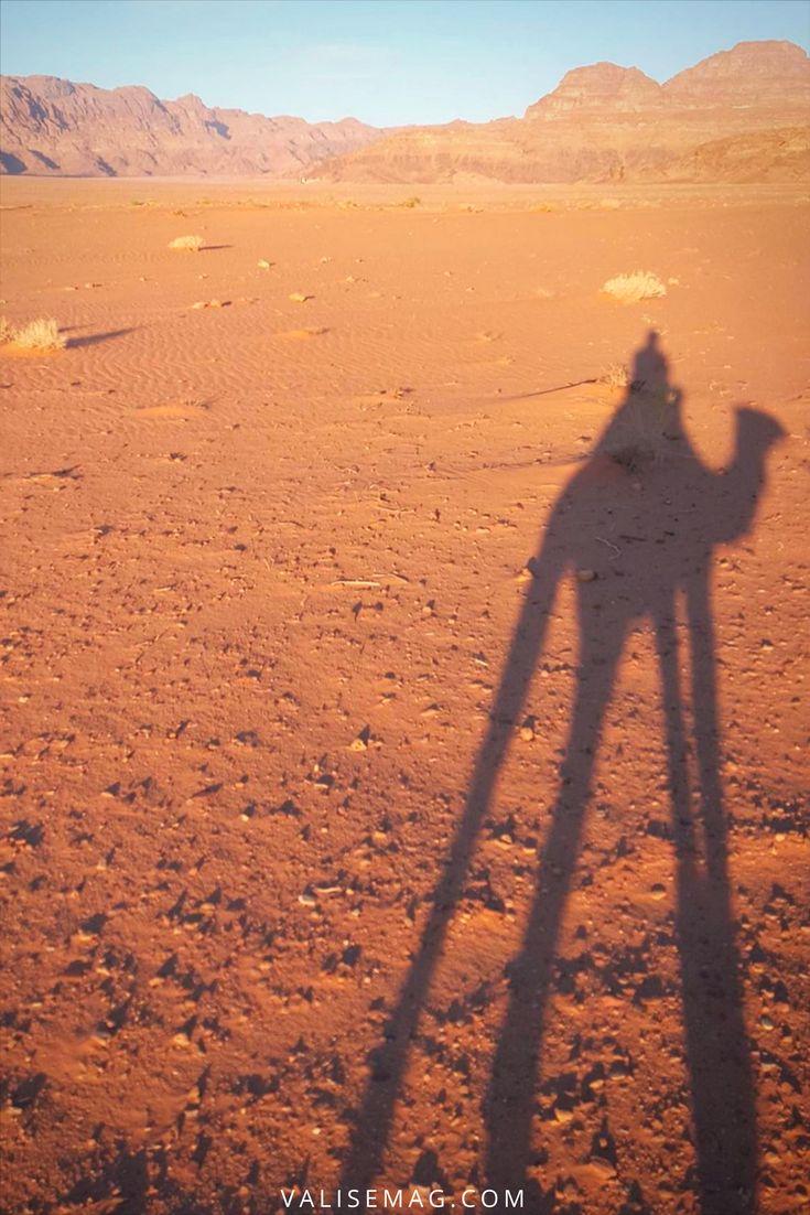 Riding a camel in Wadi Rum, Petra