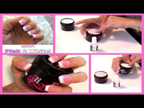 52 Weeks of Beauty - 2014 Week 12 - DIY PINK AND WHITE EZDIP NAILS - TUTORIAL - YouTube