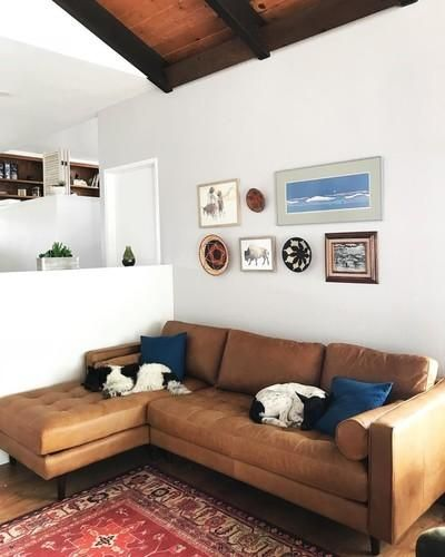 tan brown leather left sectional upholstered article sven modern rh pinterest com