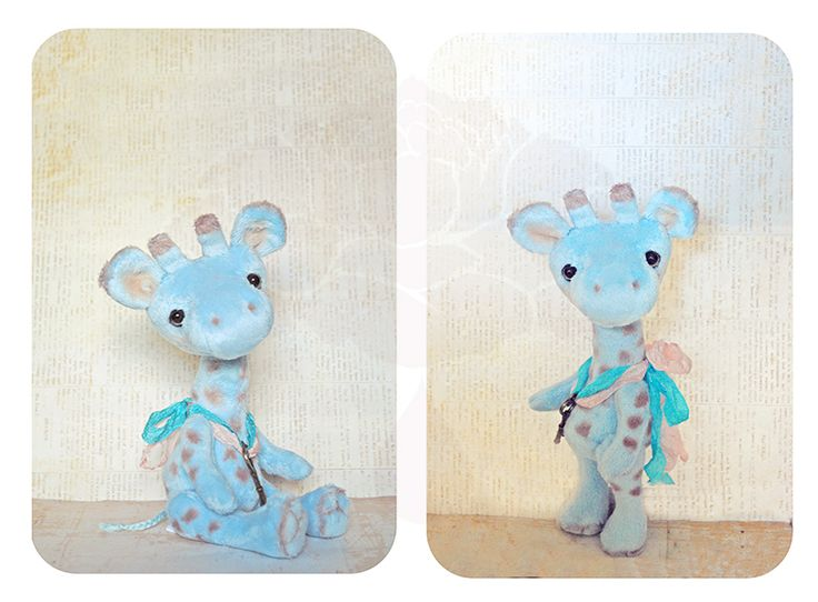 ♥ ITEM:  1 Handmade OOAK Artisan Blue Giraffe Clover  ♥ DESCRIPTION:  Height: 7 inches (sitting)  One of my sweetest OOAK Giraffes. He is made from the softest plush that was hand painted with pastels to retain that soft touch. His face is needle sculpted for extra sweetness and needle felt...