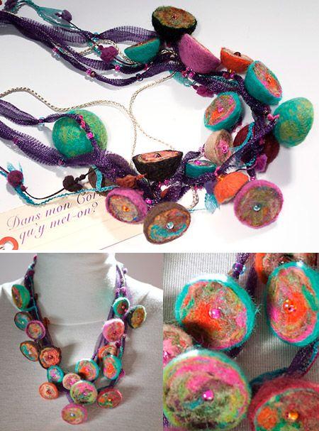 collier cascade perles laine