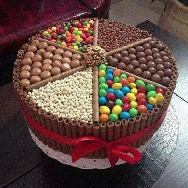 Extreme version of the chocolate kit kat cake with m and m, malt balls, skittles...