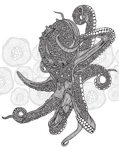 Octopus Bloom black an...
