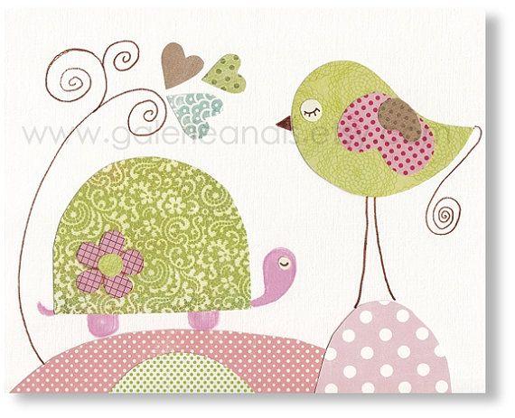 Nursery art prints, baby nursery decor, nursery wall art, baby nursery wall art, nursery girl room, Bird, Turtle, Papottage 8x10 print. $14.00, via Etsy.