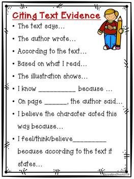 Citing Text Evidence Poster {Freebie} -- It's ugly but it proves that even kids can do it!