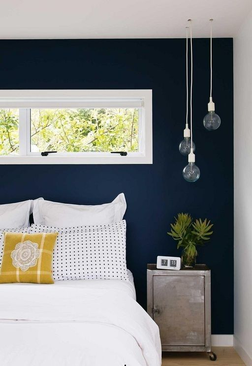 21 Modern Bedroom Wall Designs With Navy Blue Paint
