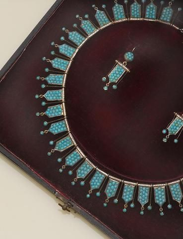 A 19th century tuquoise set finge necklace