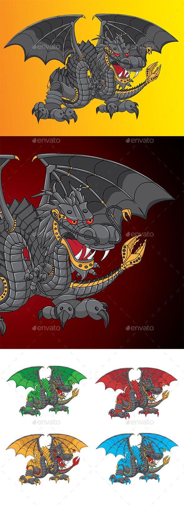 Dragon Bot Character Vector