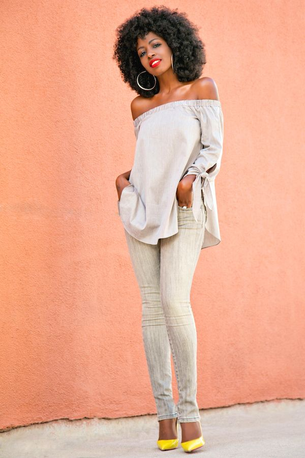 Style Pantry   Off Shoulder Tunic + Zippered Jeans