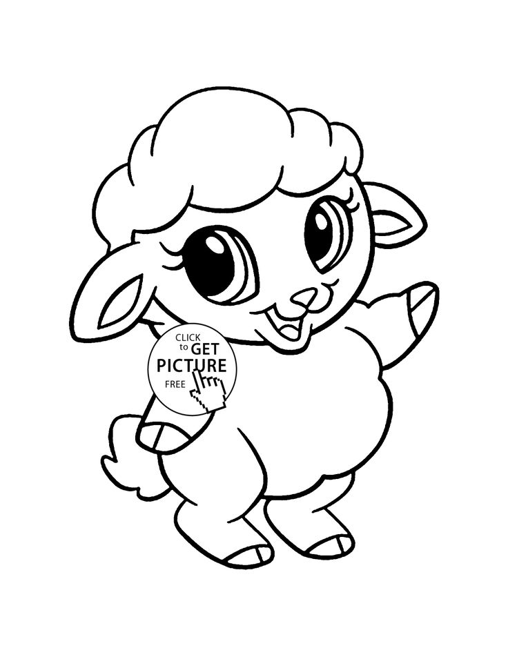 Baby Sheep animal coloring page for kids, animal coloring ...