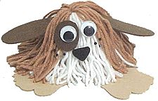 """Puppy Yarn Bug - Make a puppy dog yarn bug that looks just like your dog!  Unfortunately ours didn't look like this cutie =/ We found that a 3"""" square for the yarn was plenty long if using an egg carton cup."""