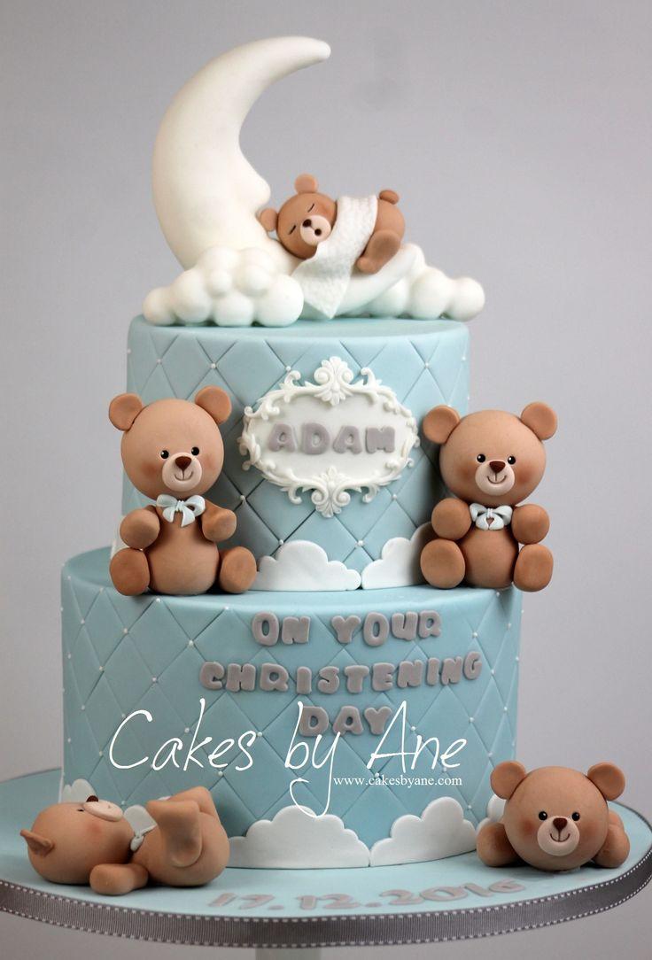 Teddy Bear Christening Cake #teddybearcake #christeningcake