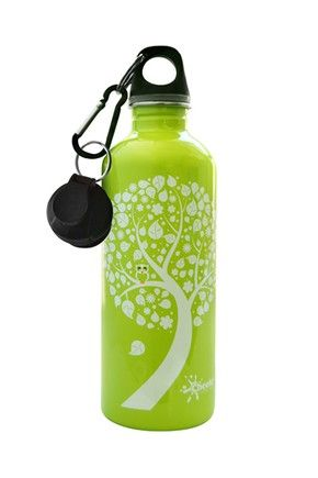 Cheeki Stainless Steel 500 ml Water Bottle - Green Owl/Leaf. Smart and trendy Cheeki stainless steel water bottles for older  kids and adults alike is a healthy, fun and eco-friendly way to avoid wasting money on bottled water! #bpafree #steelbottles