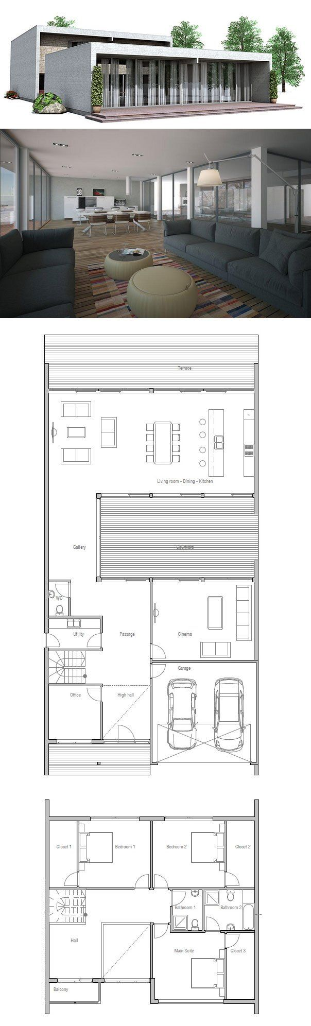 Modern minimalist narrow house floor plan from for Minimalist narrow house plans