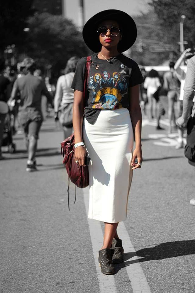 Usar vestido branco como saia