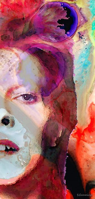 Full Color - David Bowie Art Painting by Sharon Cummings - Full Color - David Bowie Art Fine Art Prints and Posters for Sale #art #red #redart