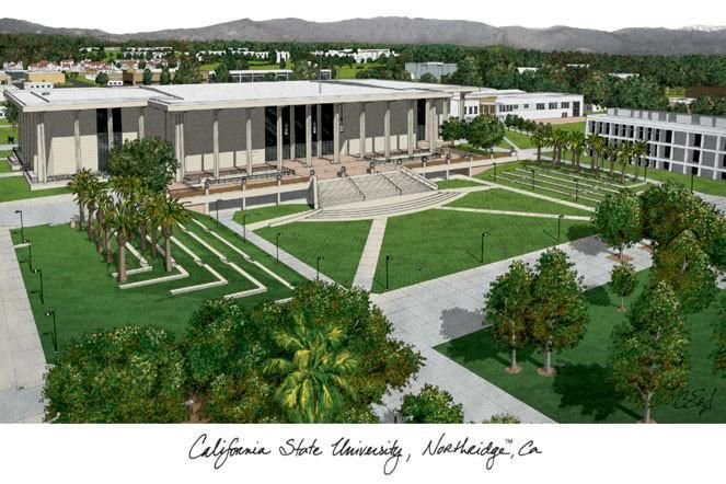 California State University, Northridge Campus Images Lithograph Print