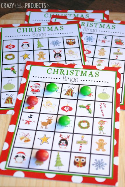 Print out a handful of free Christmas bingo boards, filled with candy canes, snowflakes and gingerbread men — only the most cheerful, holiday items. See more at Crazy Little Projects »