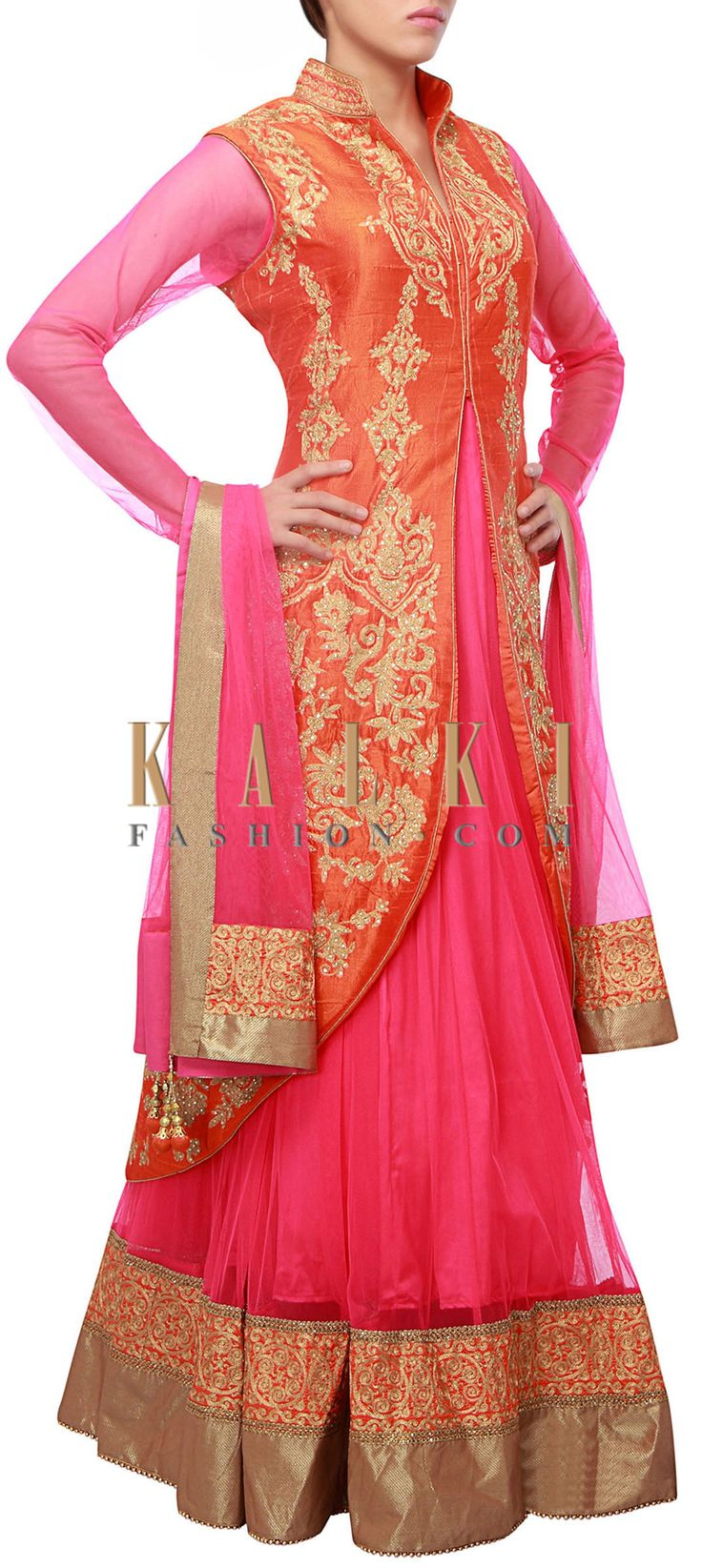 Buy Online from the link below. We ship worldwide (Free Shipping over US$100) http://www.kalkifashion.com/fuschia-jacket-anarkali-with-embellished-border-only-on-kalki.html