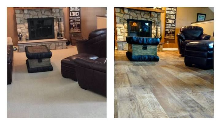 Mannington sighting! Check out this dramatic before & after with Adura® Max Dockside flooring. Thanks for sharing, Regent Floor Covering.