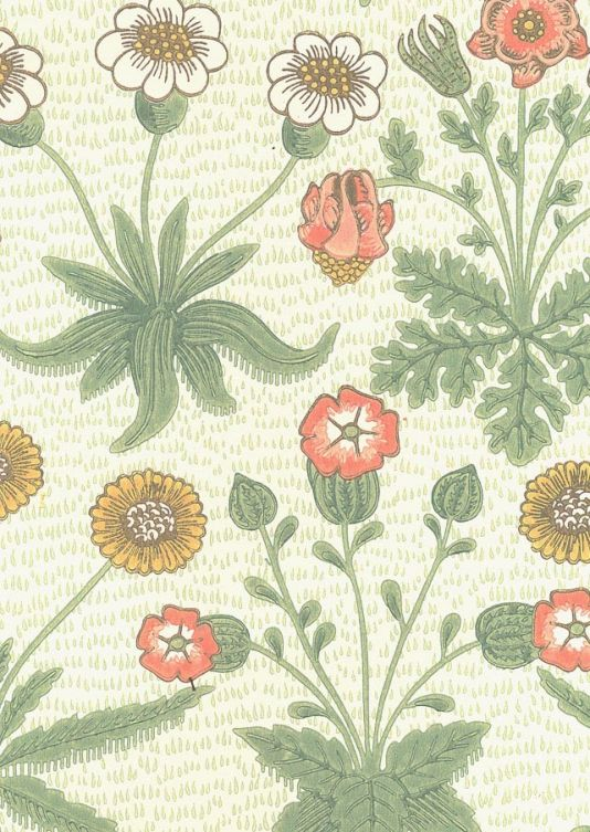 Daisy Wallpaper Classic William Morris wallpaper depicting daisy flowers on an off white background