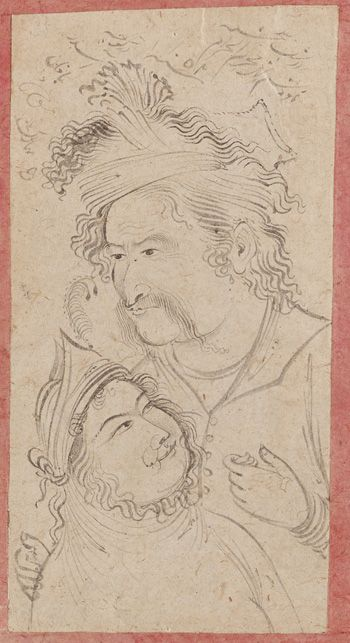 Lovers | 1642 | Mu'in Musavvir, Iranian | Safavid period | Ink and color on paper | Isfahan, Iran | Purchase | Freer Gallery of Art | F1953.41