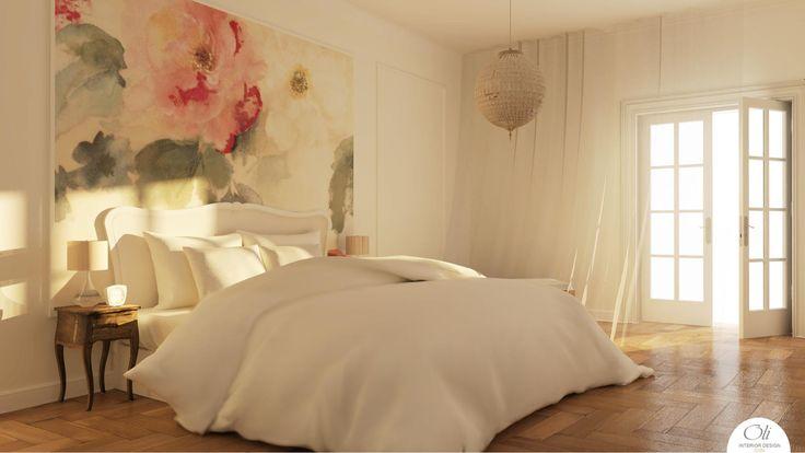 #MasterBedroom 3D E-Design by Oli Interior Design Online Studio  #romantic #vintage #interior
