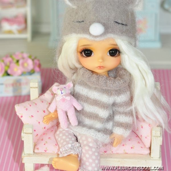 lovely miniature tinny bear for pukifee bjd lati yellow barbie fashion royalty blythe pullip. Black Bedroom Furniture Sets. Home Design Ideas