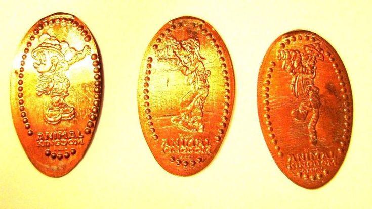 Elongated Pressed Penny Coin - ANIMAL KINGDOM # 1 - SAFARI, MINNIE, GOOFY & POOH