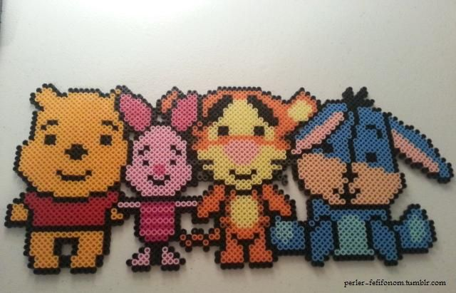 Winnie the Pooh, Piglet, Tigger, and Eeyore perler beads by fefifonom