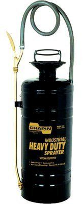 Chapin? - Heavy-Duty Sprayers 3 Gallon Heavy-Duty Sprayers - Sold as 1 Each by Chapin Products. $106.65. Chapin? - Heavy-Duty Sprayers 3 Gallon Heavy-Duty Sprayers - Sold as 1 EachBrass plated shut-off has lock-on feature for continuous spraying. Heavy duty nylon reinforced hose to resist chemicals. VITON equipped for maximum chemical resistanceBody Material: Metal Capacity Vol.: 3 gal [Max]