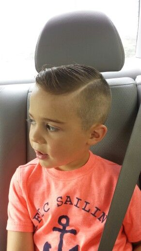 Fresh cut for the coolest 5 yr old in town. Shaved side part- little boy haircut