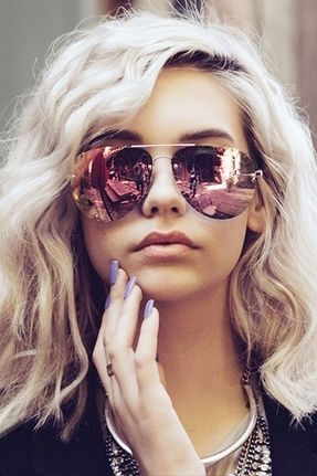 Quay x Amanda Steele Muse Sunglasses in Gold/Pink: