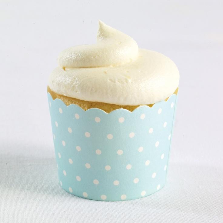 Baking Cups (pack of 25)-Blue Polka Dot   #exclusivelyweddings   #lightbluewedding