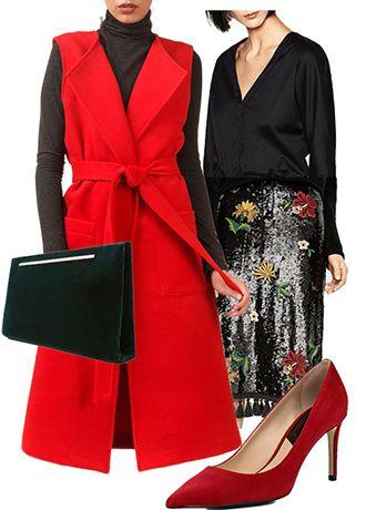 Празднично: юбка, боди Zara, туфли Mango, красный жилет Leya, клатч Massimo Dutti. Повседневно: юбка, ботинки Zara, черный жилет JN, сумка Zatchels, рубашка Calvin Klein Jeans.