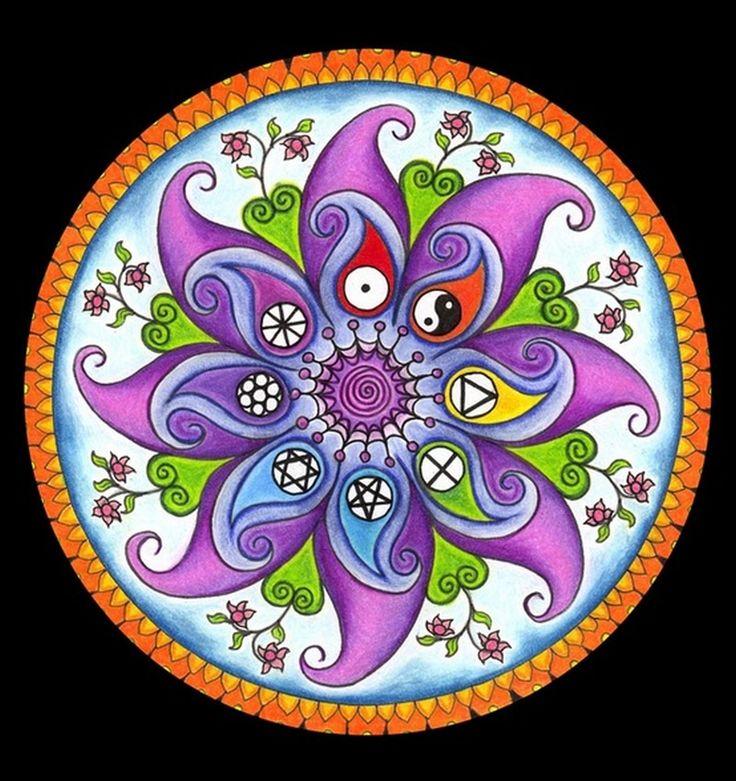 """Los mandalas son unos dibujos en formas concéntricas utilizados para conseguir una armonía personal, denominados también """"psicocosmograma..."""