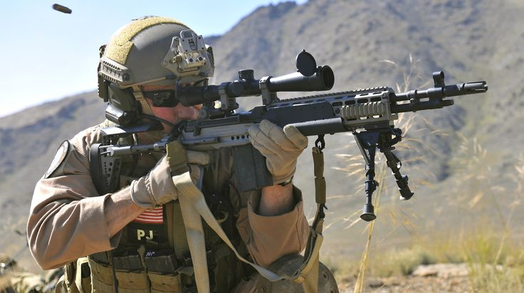 Brig. Gen. Jack L. Briggs, the 455th Air Expeditionary Wing commander, test fires the M14, an enhanced battle rifle, during a training mission at Bagram Airfield, Afghanistan, Sept. 24, 2010. The training mission, led by the 33rd Expeditionary Rescue Squadron, provided a glimpse of what the 33rd ERQS brings to the fight and the capabilities it provides to combat commanders. (U.S. Air Force photo/Staff Sgt. Christopher Boitz