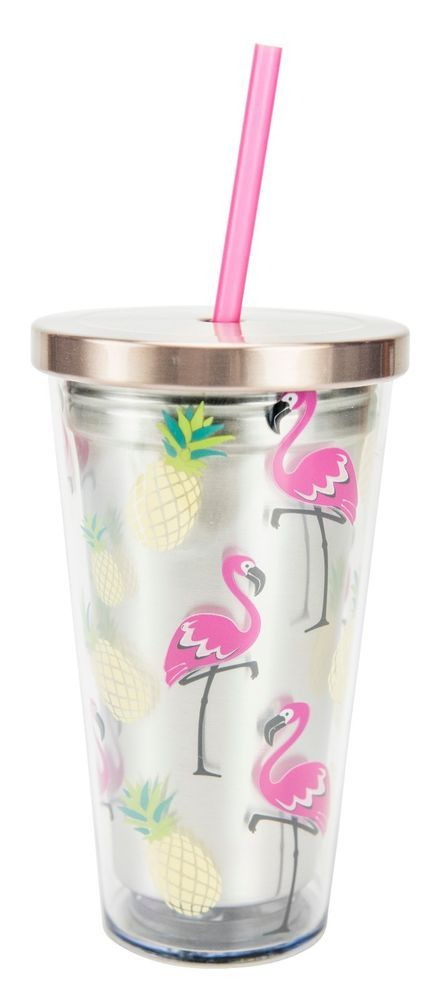 Flamingo Stainless Steel double walled insulated tumbler with straw features stainless steel inner and lid with acrylic outer with tropical Flamingo and Pineapple design. Stainless Steel 16 Oz. Tumbler with Straw, Flamingo. | eBay!