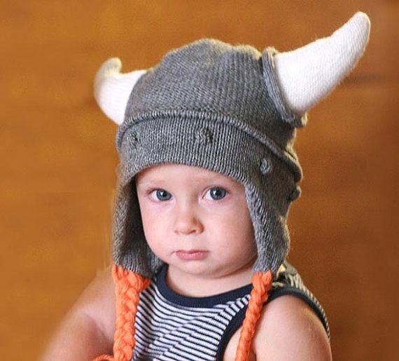 Viking kids hat Child knit hat Viking hat with by TreMelarance