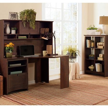 Bush Buena Vista Collection Transitional Wood Corner Desk With Hutch 66 H x 59 W x 36 D Madison Cherry Standard Delivery by Office Depot & OfficeMax