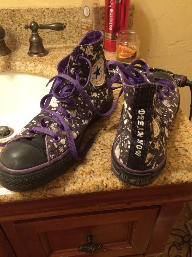 Custom made Converse I made two years ago. Purple, white, and black themed with paint splatter.