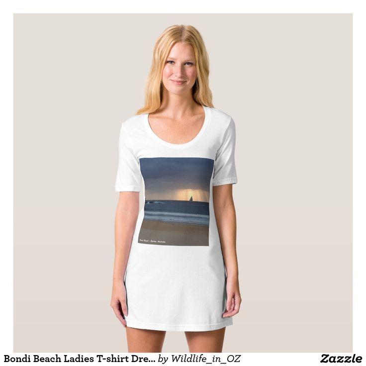 Bondi Beach Ladies T-shirt Dress / Nightie Bondi Beach Australiana - Click on photo to view item then click on item to see how to purchase that item. #bondibeach #bondi #iconicbeach #sydney #australia #surf #sunrise #sand #surf #yachting