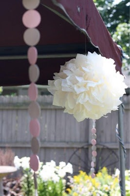 Christening hanging decorations - tissue poms and trailing dots