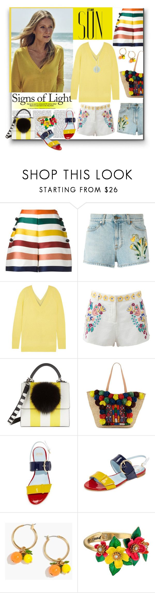 """Let´s Have Sun"" by sylandrya ❤ liked on Polyvore featuring Carolina Herrera, Gucci, Equipment, Antik Batik, Les Petits Joueurs, Flora Bella, Frances Valentine, J.Crew, Betsey Johnson and Swarovski"