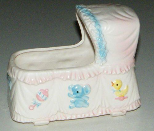 Vtg Baby Bassinet Crib Cradle Flower Planter Shower Vase Giftwares C 6582 Japan | eBay