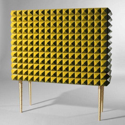 Ashlar facing yellow gloss lacquered home bar furniture, Paolo Buffa, Milano 1903-1970, eredi Marelli