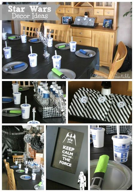 Clean & Scentsible: Star Wars Party Ideas - I like the black and white striped bags/graphic - possible color scheme - black,white, green and blue?